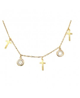 Naszyjnik srebrny - złocony - Krzyżyki