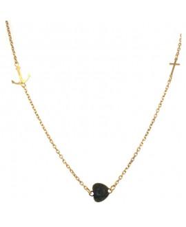 Naszyjnik srebrny - złocony - Wiara-Nadzieja-Miłość
