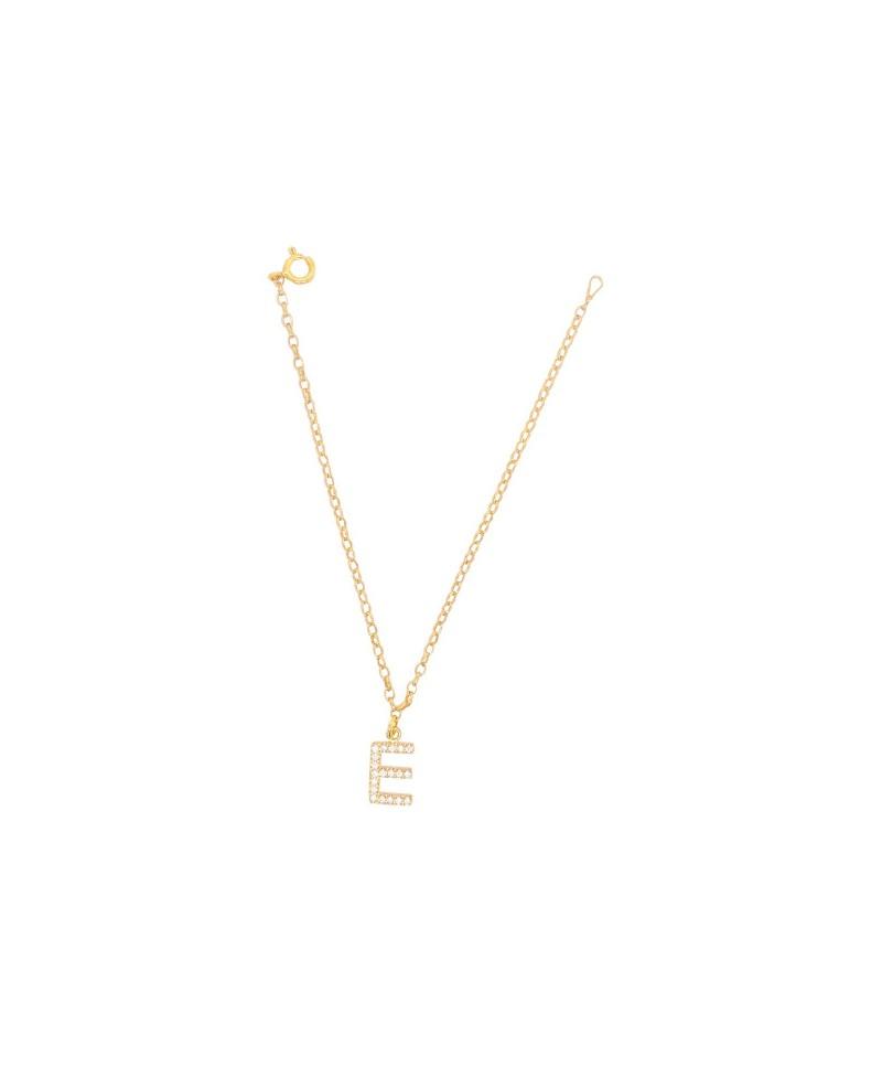 Bransoleta srebrna złocona- Literka E
