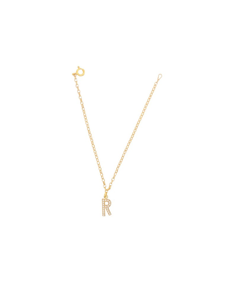 Bransoleta srebrna złocona- Literka R