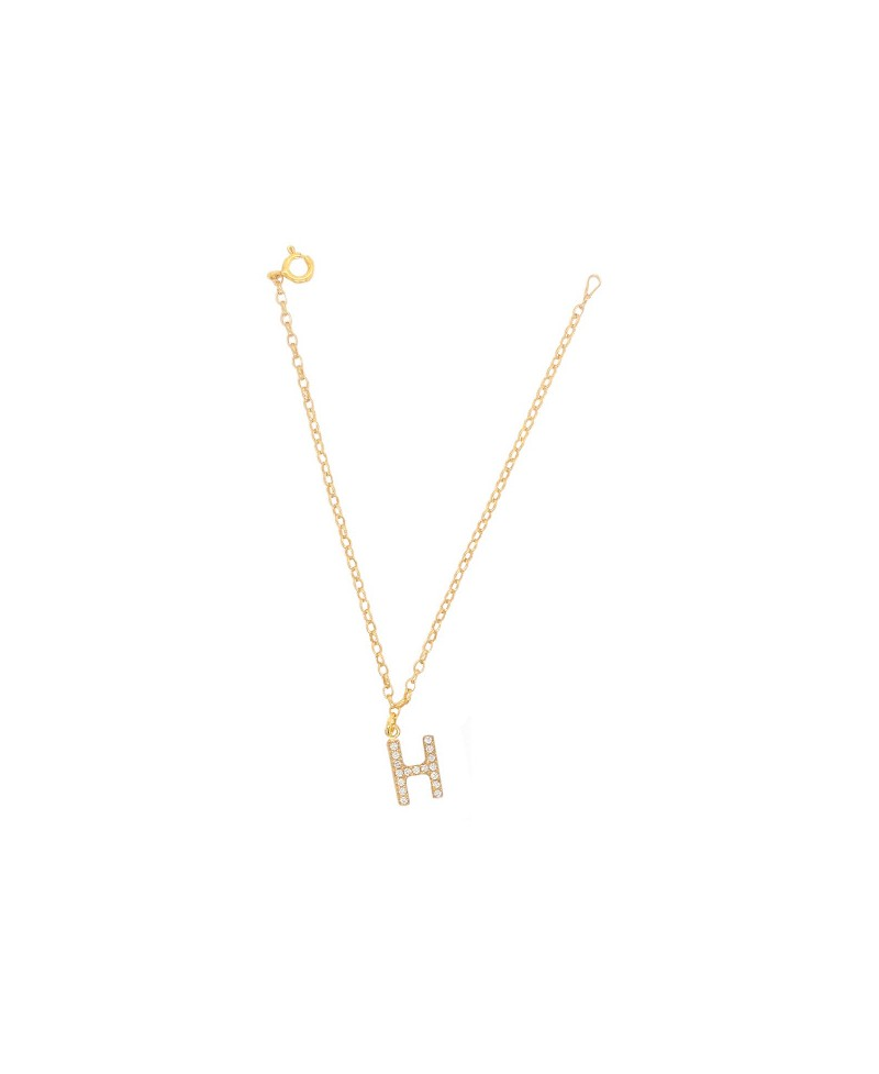 Bransoleta srebrna złocona- Literka H