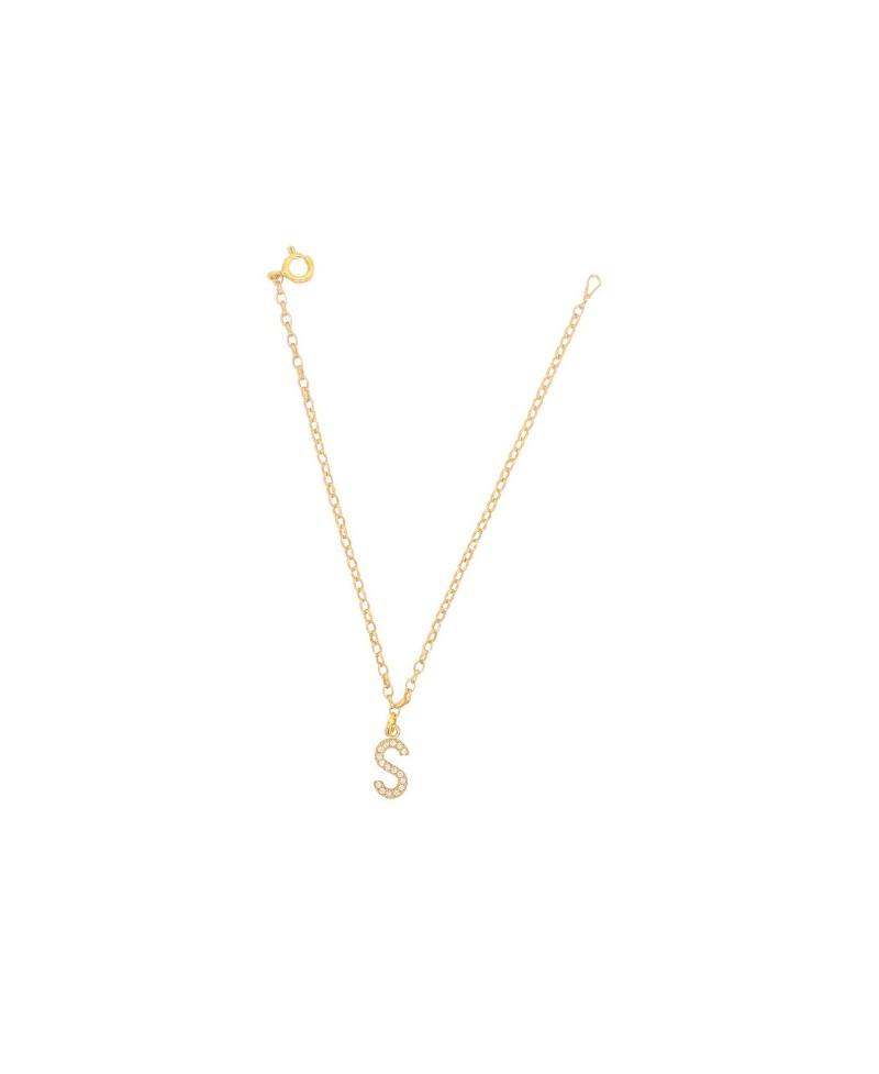 Bransoleta srebrna złocona- Literka S
