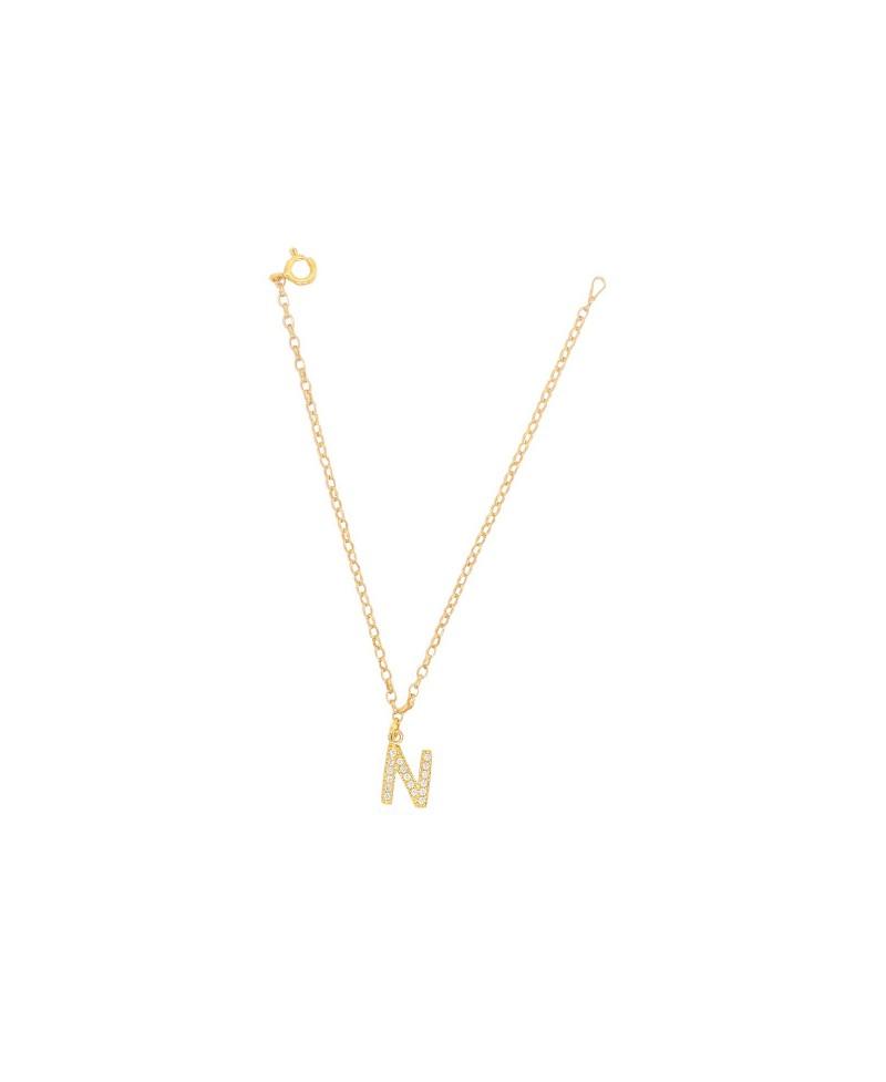 Bransoleta srebrna złocona- Literka N