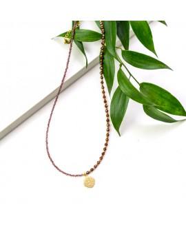Naszyjnik srebrny pozłacany z granatami - 39 cm