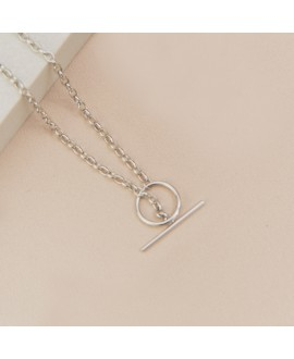 Naszyjnik srebrny rodowany - Rolo z okrągłym zapięciem