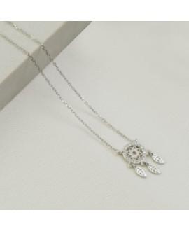 Naszyjnik srebrny rodowany - łapacz snów z zirconiami