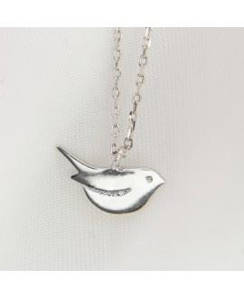 Naszyjnik srebrny rodowany - gołębica z zirconiami