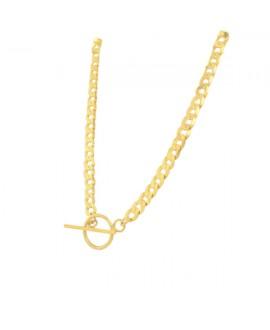 Naszyjnik srebrny złocony - Pancerka z okrągłym zapięciem 42 cm
