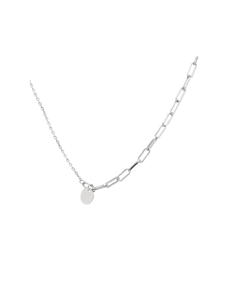 Naszyjnik srebrny rodowany - Ankier z kółeczkiem
