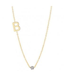Naszyjnik złoty z brylantem - Literka B - 0.02ct