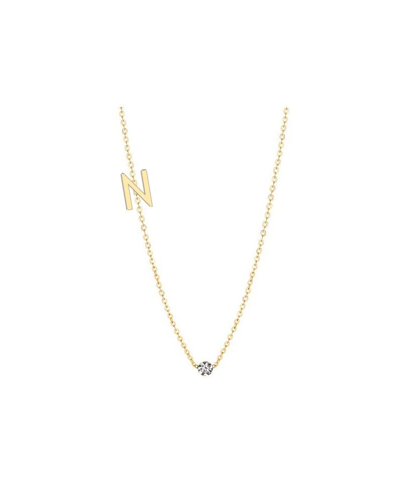 Naszyjnik złoty z brylantem - Literka N - 0.02ct