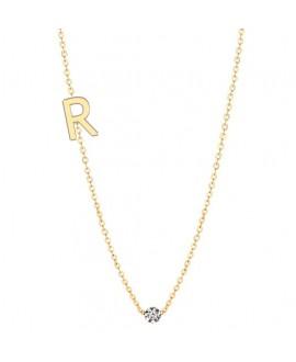 Naszyjnik złoty z brylantem - Literka R - 0.02ct