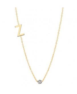 Naszyjnik złoty z brylantem - Literka Z - 0.02ct