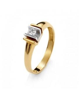 Pierścionek z zółtego złota z brylantem 0.11 ct 46/02/3 0.11 ct H/Si