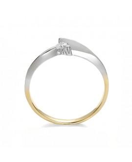 Pierścionek z żółtego złota z brylantem 0.08 ct 50/05