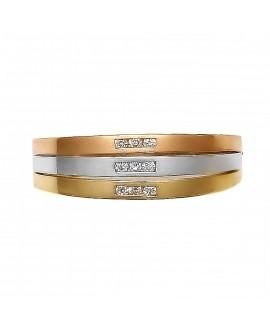 Pierścionek z trzech kolorów złota 0,09 ct Trzy kolory złota - 59/02/3 0,09 ct H/Si