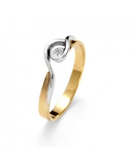 Pierścionek z żółtego złota z brylantem 0.06 ct 64/02