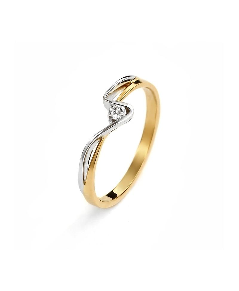 Pierścionek z żółtego złota z brylantem 0.04 ct 67/02