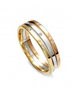 Pierścionek z trzech kolorów złota 0,06 ct  Trzy kolory złota - 78/02 0,06 ct H/Si