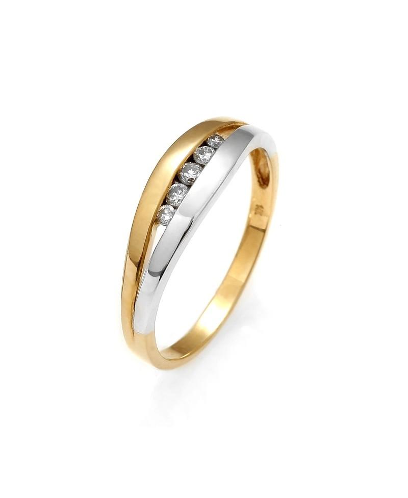 Pierścionek z żółtego złota z brylantem 0.15 ct 98/03