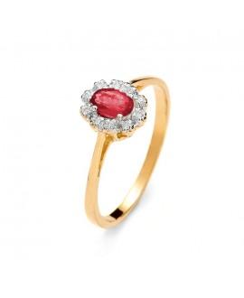 Pierścionek z żółtego złota z brylantami i rubinem - 519 0.06 ct H/Si