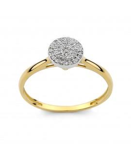 Pierścionek z żółtego złota z brylantami 0.11 ct 317/05 H-I/Si-P2