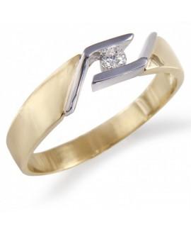 Pierścionek z żółtego złota z brylantem 0.09 ct 221-05