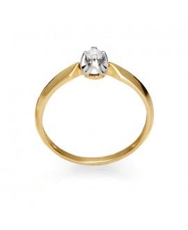 Pierścionek z żółtego złota z brylantem 0.09 ct 214-05