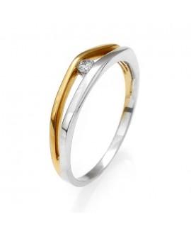 Pierścionek z żółtego złota z brylantem 0,06 CT 115-03