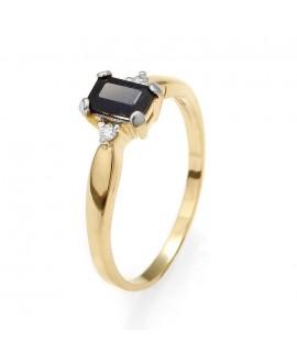 Pierścionek z żółtego złota z brylantami i szafirem - 160 0.05ct H/Si