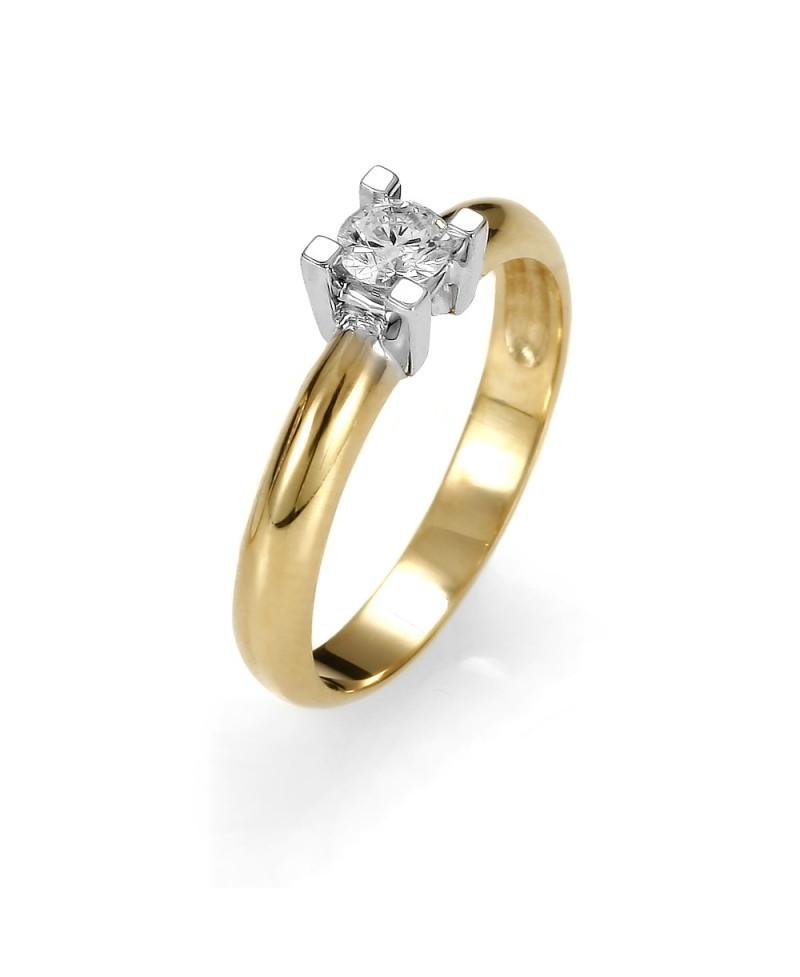 Pierścionek z żółtego złota z brylantem 0.23ct 256-05