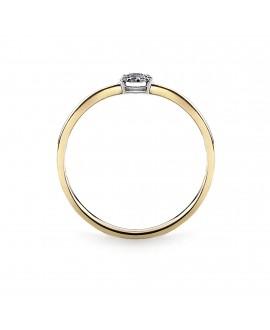 Pierścionek z żółtego złota z brylantami i szafirem- 316/05 0.027ct H/Si