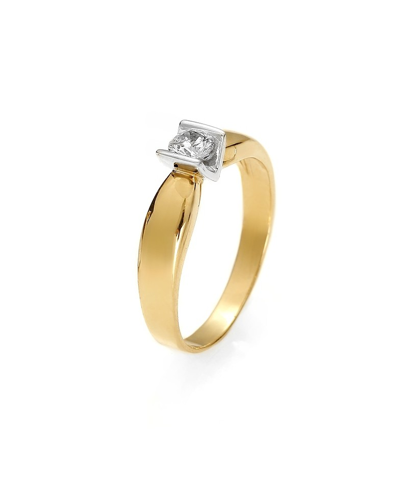 Pierścionek z żółtego złota z brylantem 0.19ct H/Si