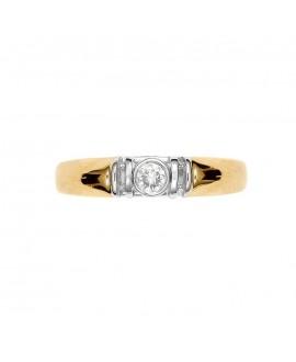 Pierścionek z żółtego złota z brylantem 0.10ct H/Si