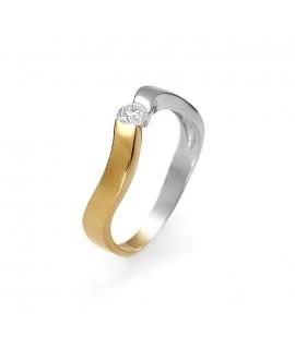 Pierścionek z żółtego złota z brylantem 0.15ct H/Si