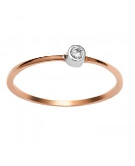 Pierścionek z różowego złota z brylantem 0.04 ct