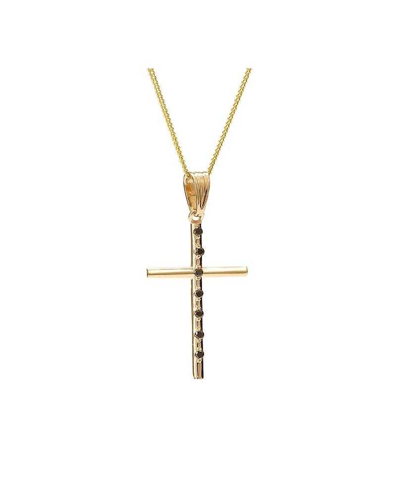 Krzyżyk z żółtego złota z czarnymi brylantami - 405/05 - 0.07ct Black Diamonds
