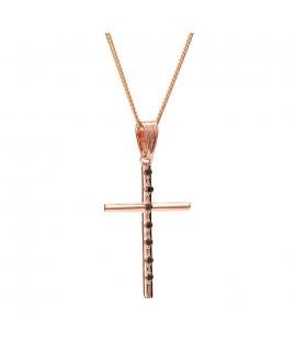 Krzyżyk z różowego złota z czarnymi brylantami - 405/05 - 0.07ct Black Diamonds