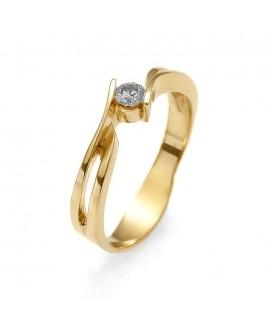 Pierścionek z żółtego złota z brylantem 0.11ct H/Si