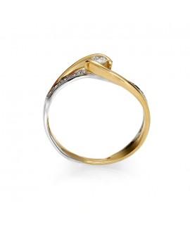 Pierścionek z żółtego złota z brylantami 0.20 ct H/Si