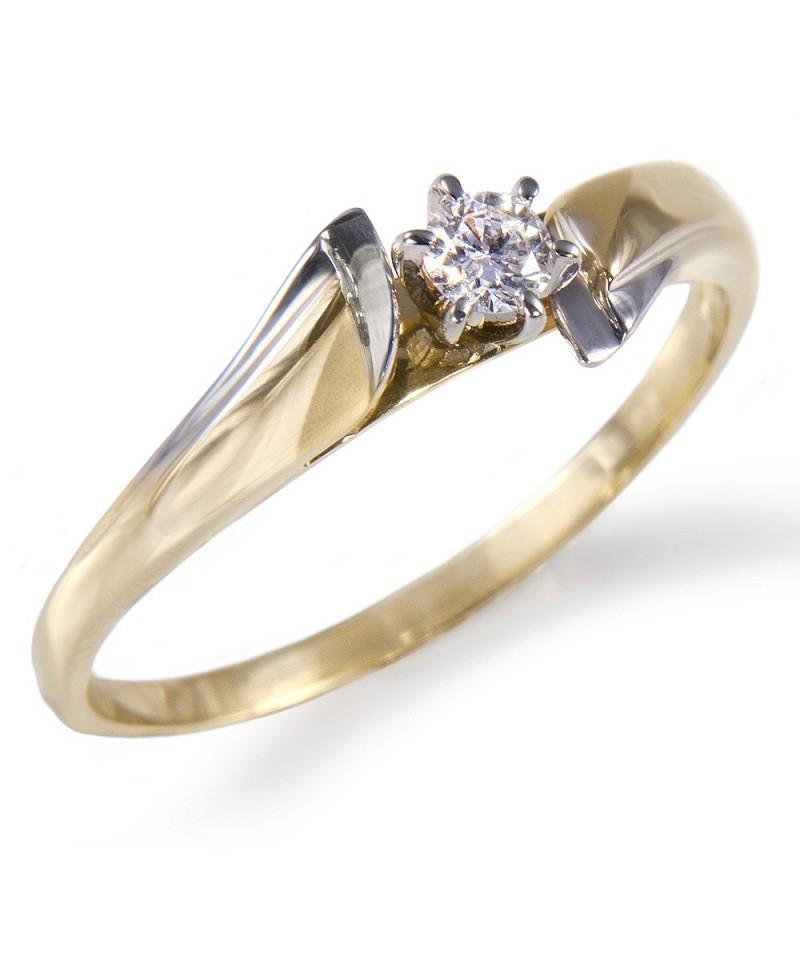 Pierścionek z żółtego złota z brylantem 0.11 ct H/Si