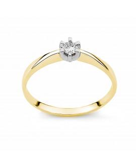 Pierścionek z żółtego złota z brylantem zaręczynowy - 271/05 - 0.10 ct H/Si