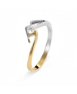 Pierścionek z żółtego złota z brylantem 0.08 ct H/Si