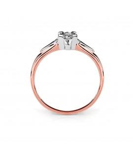 Pierścionek z różowego złota z brylantem 0.06 ct