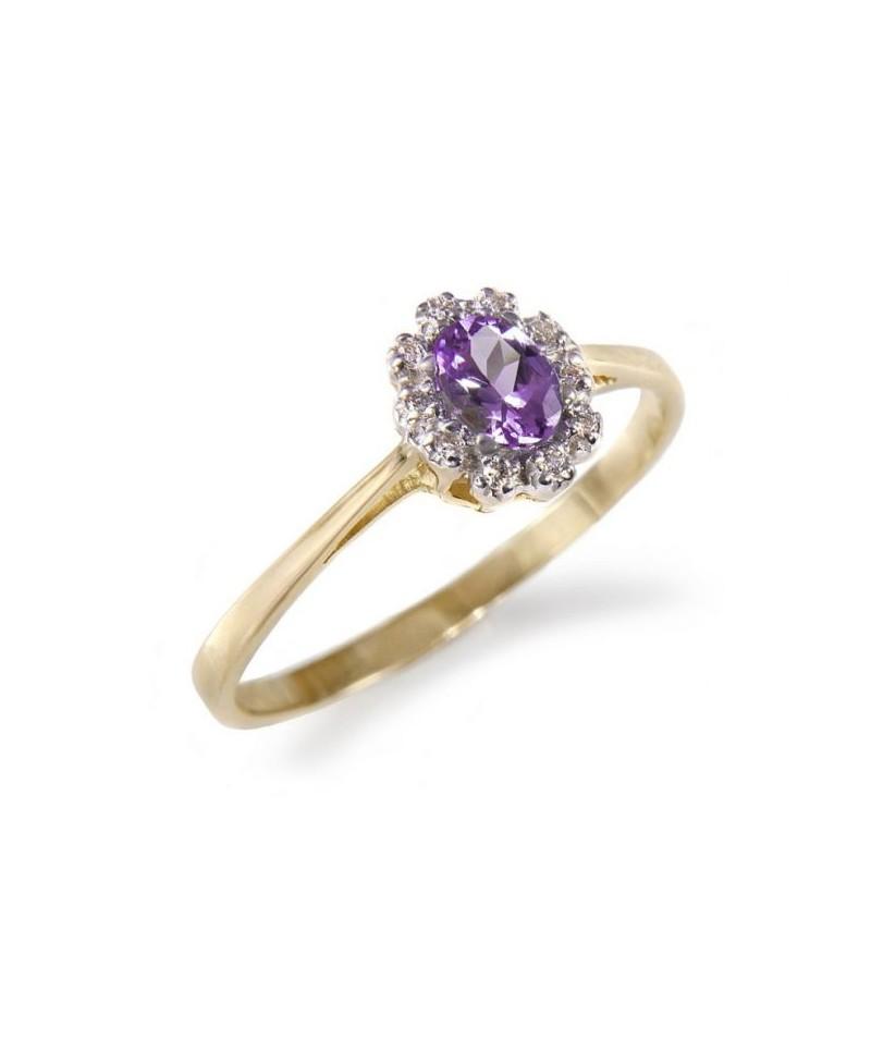 Pierścionek zaręczynowy z brylantami i tanzanitem żółte złoto - 519 0.06 ct H/Si