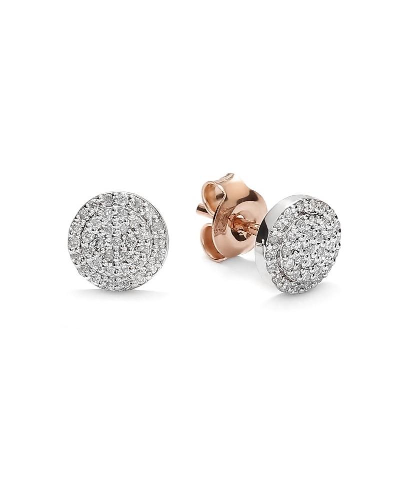 Kolczyki z brylantami z różowego i białego złoto - 317/05 0.22 ct H-I/Si-P2