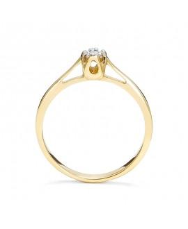 Pierścionek z żółtego złota z brylantem 0,015 CT H/SI